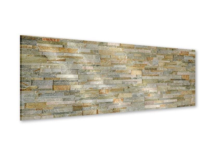 Acrylglasbild Panorama Edle Steinmauer