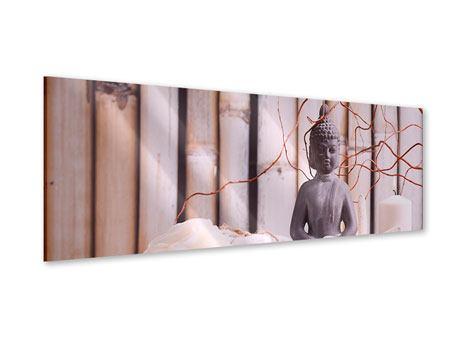 Acrylglasbild Panorama Spa + Buddha