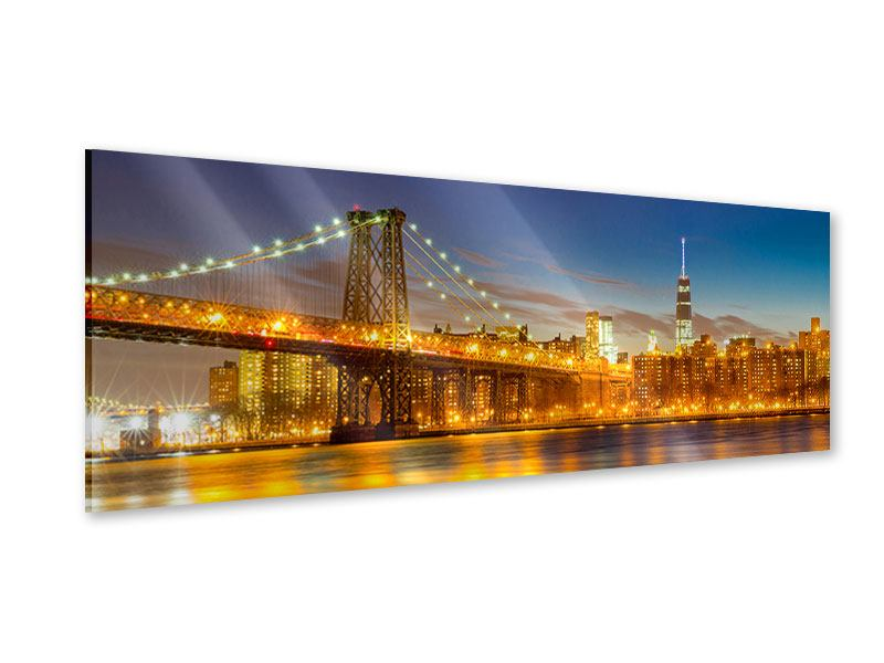 Acrylglasbild Panorama Skyline NY Williamsburg Bridge