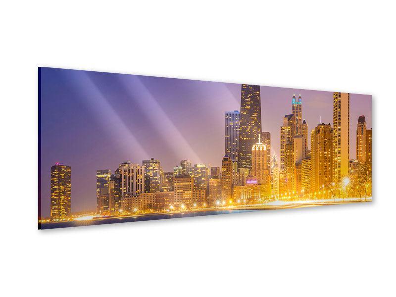 Acrylglasbild Panorama Skyline Chicago in der Nacht