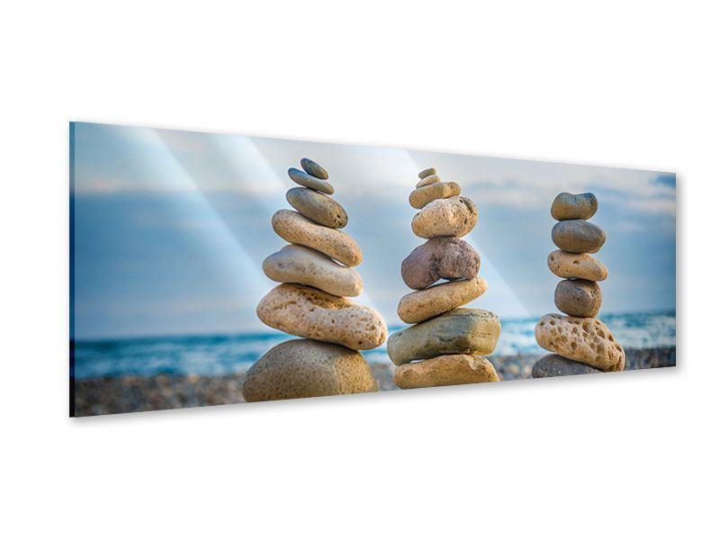 Acrylglasbild Panorama Drei Steinstapel