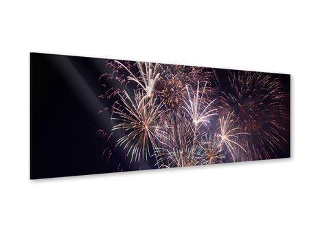 Acrylglasbild Panorama Feuerwerk