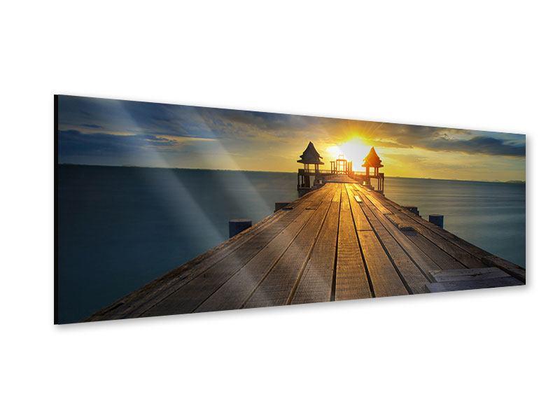 Acrylglasbild Panorama Der Sonnenuntergang bei der Holzbrücke
