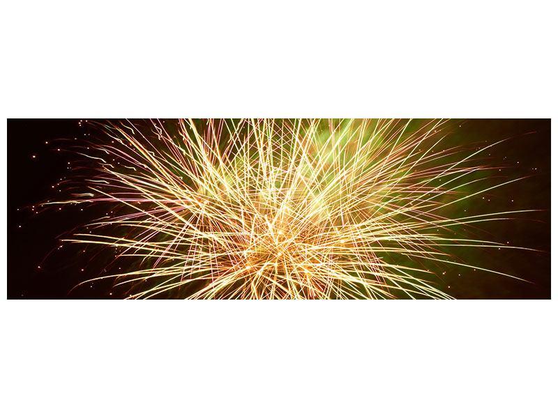 Acrylglasbild Panorama Feuerwerk XXL