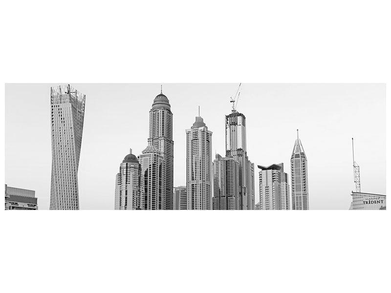 Acrylglasbild Panorama Majestätische Wolkenkratzer in Dubai