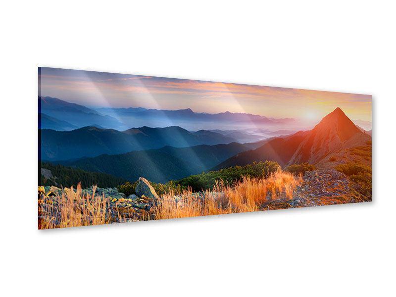 Acrylglasbild Panorama Sonnenuntergang in den Alpen