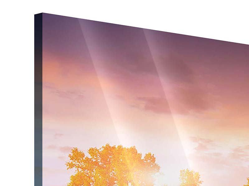 Acrylglasbild Panorama Sonnenuntergang am See