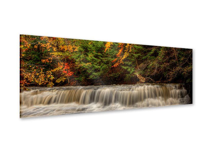Acrylglasbild Panorama Herbst beim Wasserfall