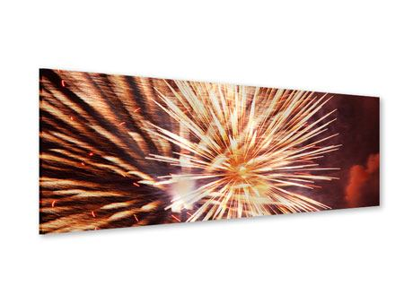 Acrylglasbild Panorama Close Up Feuerwerk