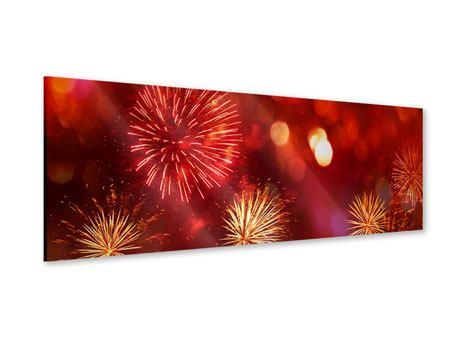 Acrylglasbild Panorama Buntes Feuerwerk