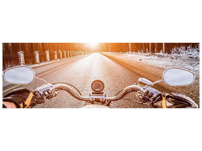 Acrylglasbild Panorama Auf dem Motorrad