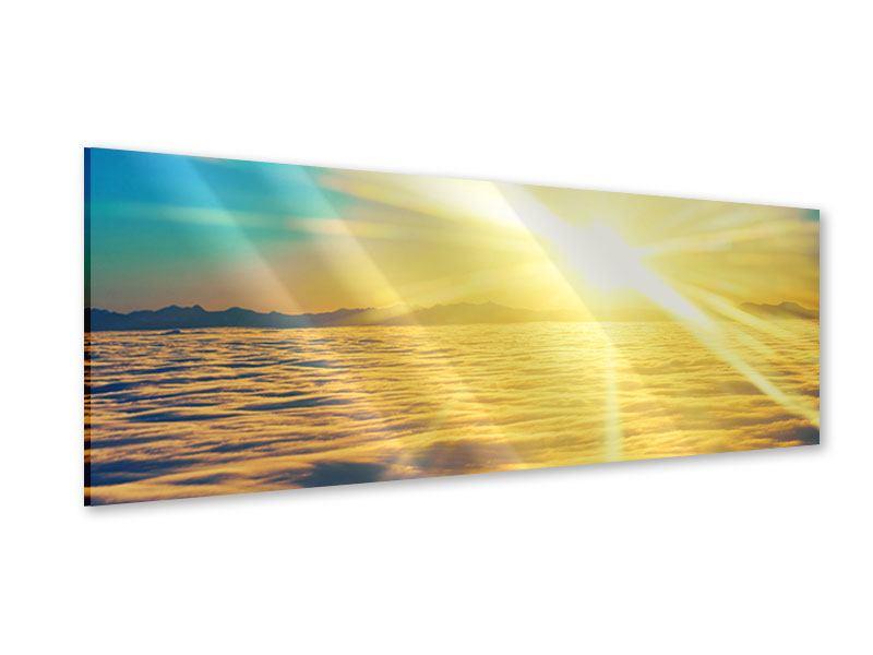 Acrylglasbild Panorama Sonnenuntergang über den Wolken