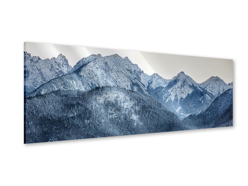Acrylglasbild Panorama Schwarzweissfotografie Berge