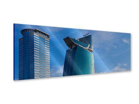 Acrylglasbild Panorama Zwei Wolkenkratzer