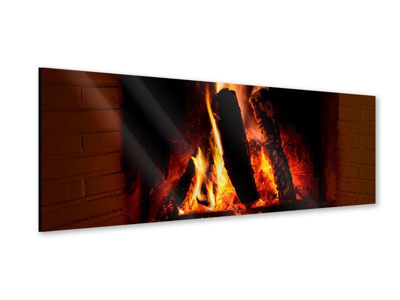 Acrylglasbild Panorama Feuer im Kamin