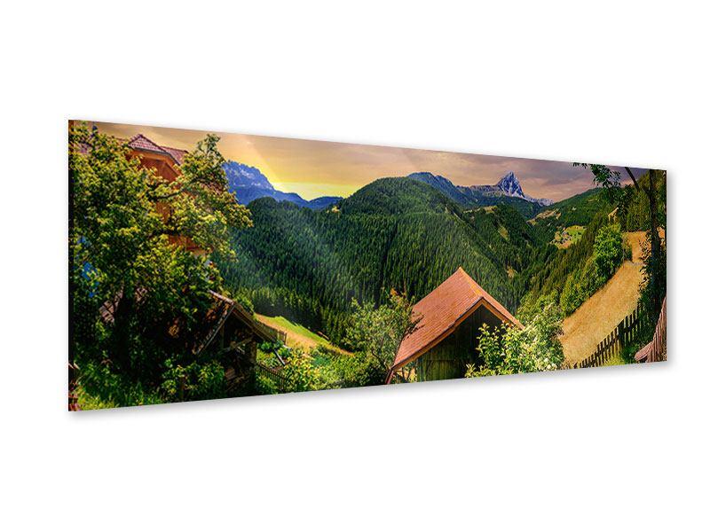 Acrylglasbild Panorama Schweizer Berge im Sommer