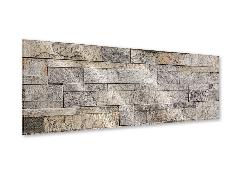 Acrylglasbild Panorama Elegante Steinmauer