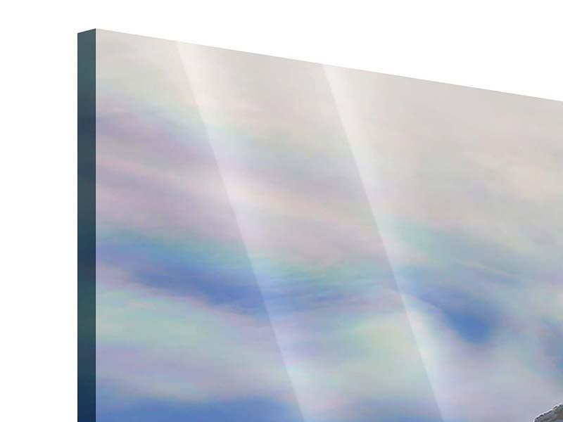 Acrylglasbild Panorama Mit Schneeverwehungen den Berg in Szene gesetzt