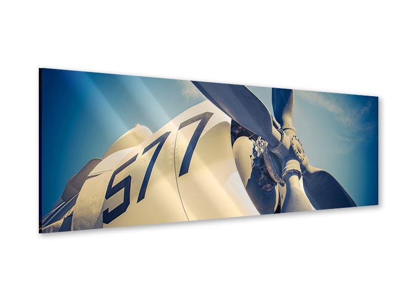 Acrylglasbild Panorama Close Up Propellerflugzeug