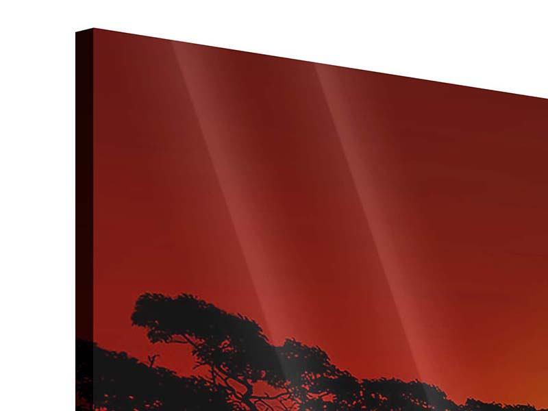 Acrylglasbild Panorama Afrikanische Steppenelefanten