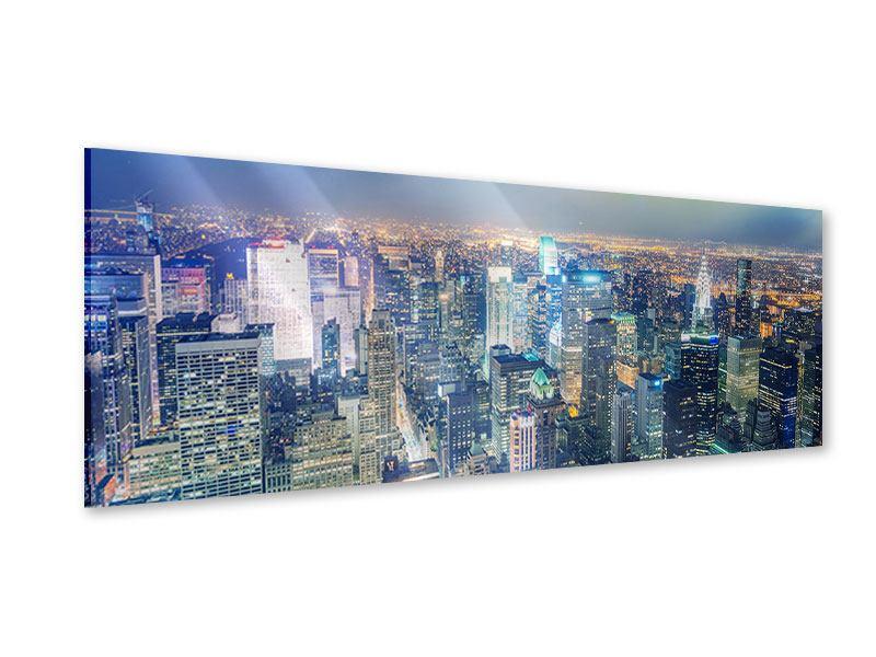Acrylglasbild Panorama Skyline NY bei Sonnenuntergang