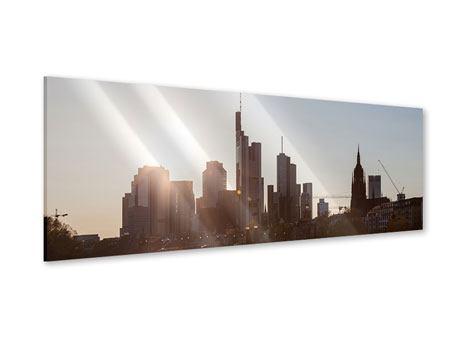 Acrylglasbild Panorama Skyline Sonnenaufgang bei Frankfurt am Main