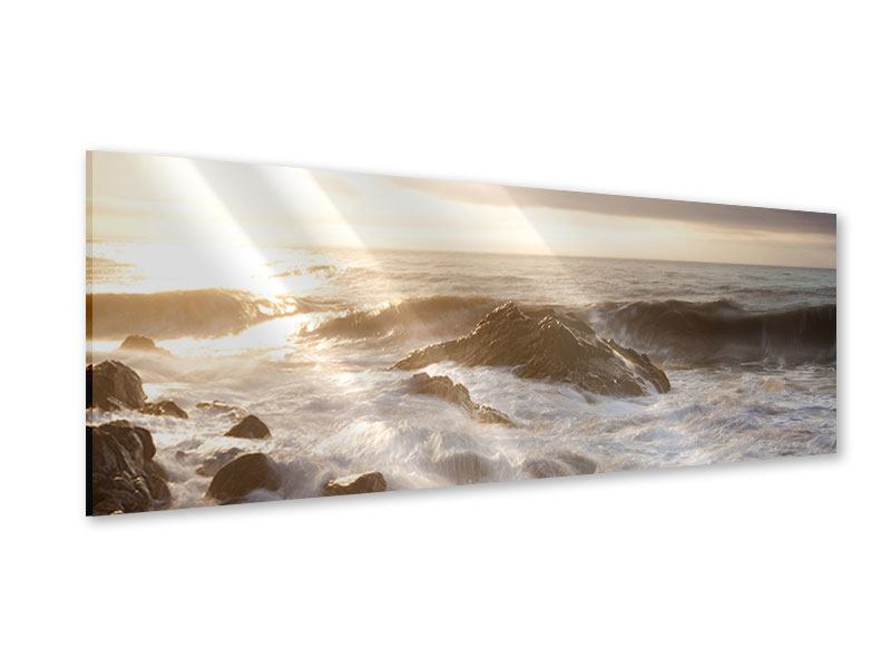 Acrylglasbild Panorama Meeresbrandung