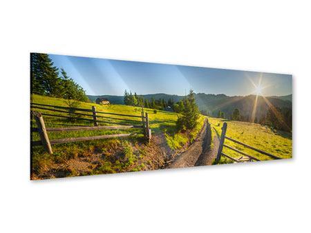 Acrylglasbild Panorama Sonnenaufgang am Berg