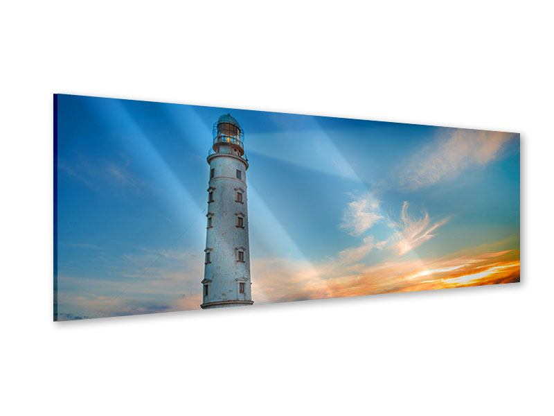 Acrylglasbild Panorama Sonnenuntergang am Leuchtturm