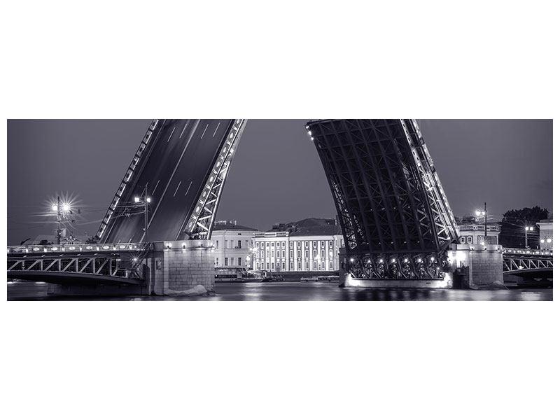 Acrylglasbild Panorama Klappbrücke bei Nacht