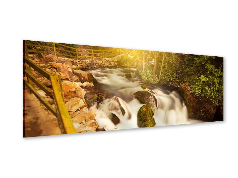 Acrylglasbild Panorama Sonnenuntergang am Wasserfall