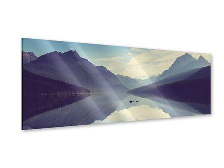 Acrylglasbild Panorama Bergspiegelung