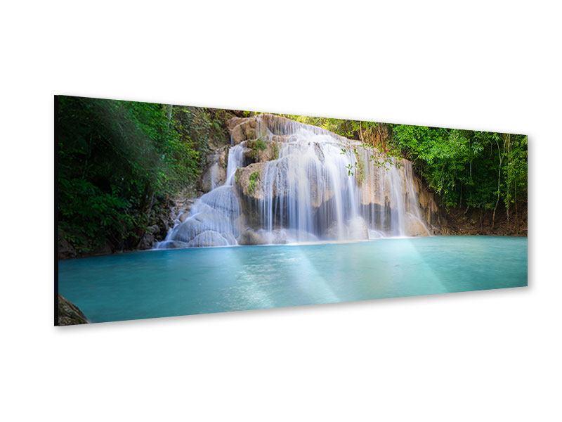 Acrylglasbild Panorama Terrasse am Wasserfall