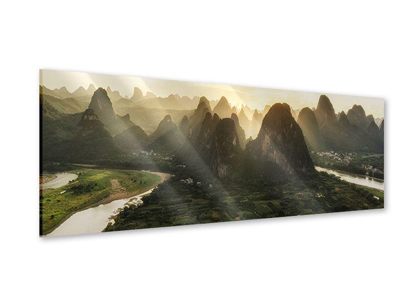 Acrylglasbild Panorama Die Berge von Xingping