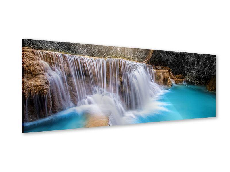 Acrylglasbild Panorama Glücklicher Wasserfall
