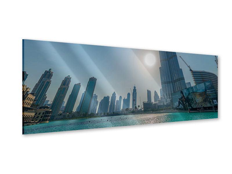Acrylglasbild Panorama Wolkenkratzer-Architektur Dubai