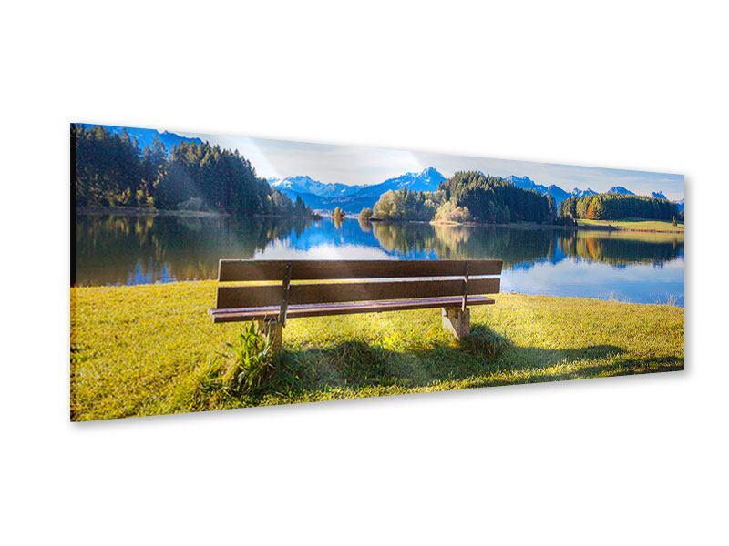 Acrylglasbild Panorama Sitzbank mit Bergpanorama