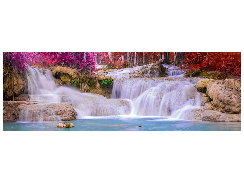 Acrylglasbild Panorama Paradiesischer Wasserfall