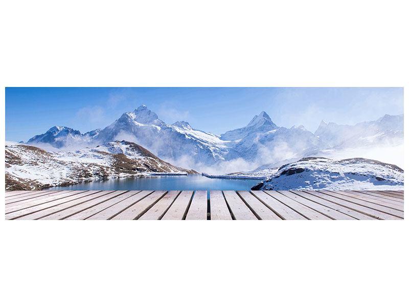 Acrylglasbild Panorama Sonnenterrasse am Schweizer Bergsee