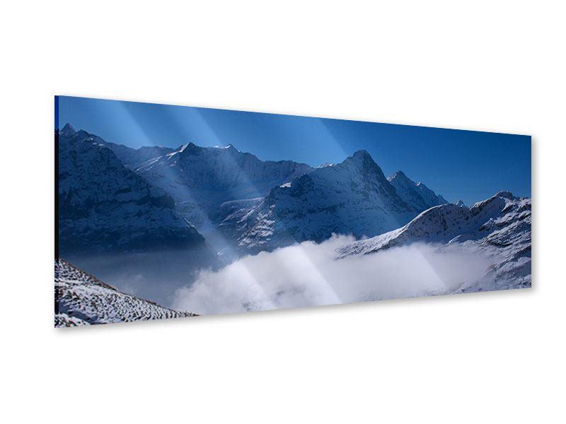 Acrylglasbild Panorama Sonnenterrasse in den Schweizer Alpen