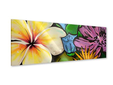 Acrylglasbild Panorama Graffiti Flowers