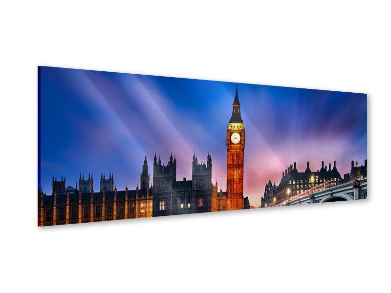 Acrylglasbild Panorama Nachts am Big Ben