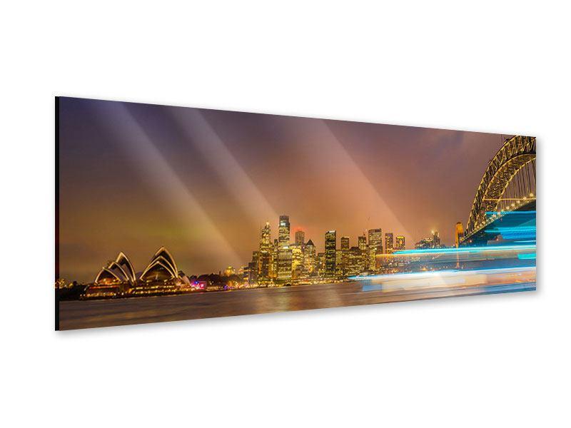Acrylglasbild Panorama Skyline Opera House in Sydney im Abendlicht
