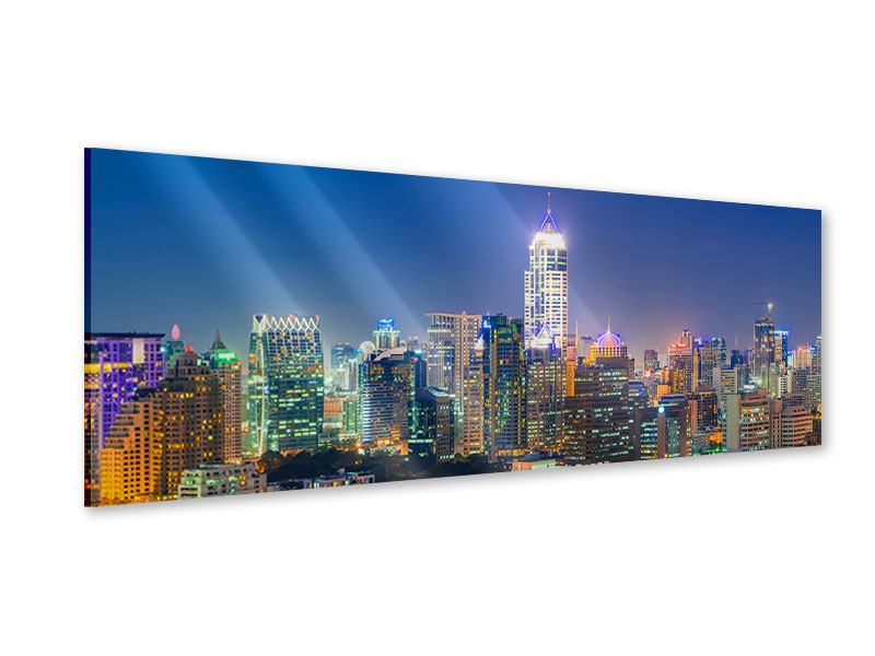Acrylglasbild Panorama Skyline One Night in Bangkok