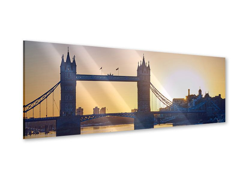 Acrylglasbild Panorama Tower Bridge bei Sonnenuntergang