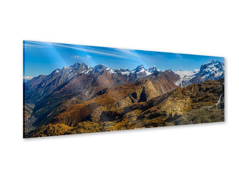 Acrylglasbild Panorama Schweizer Alpen im Frühling