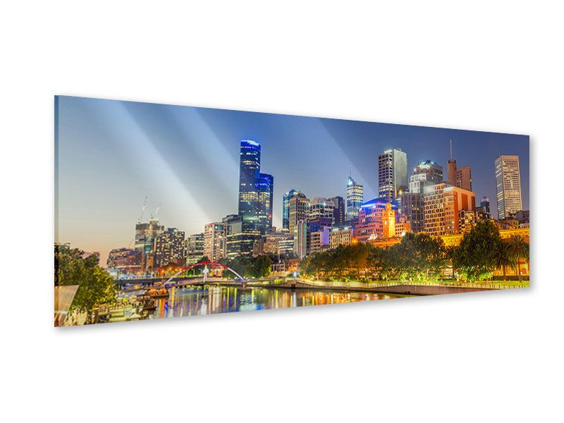 Acrylglasbild Panorama Skyline Sydney in der Abenddämmerung