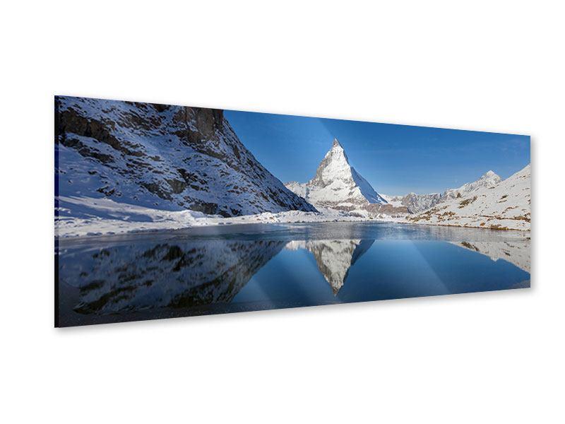 Acrylglasbild Panorama Der Riffelsee am Matterhorn