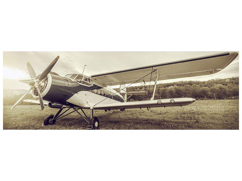 Acrylglasbild Panorama Nostalgisches Flugzeug im Retrostyle