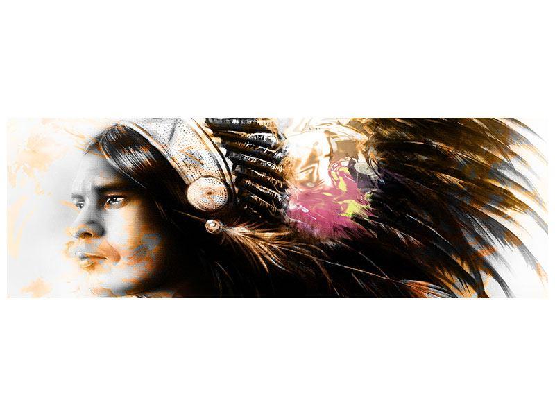 Acrylglasbild Panorama Kunstvolles Indianer-Portrait
